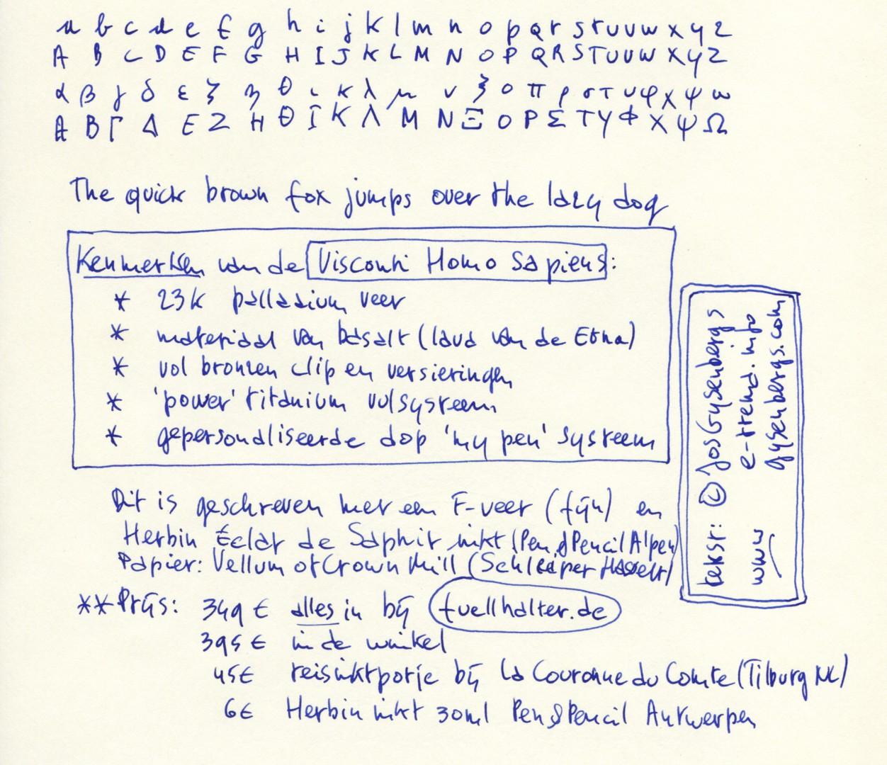 Visconti Homo Sapiens schrijfvoorbeeld