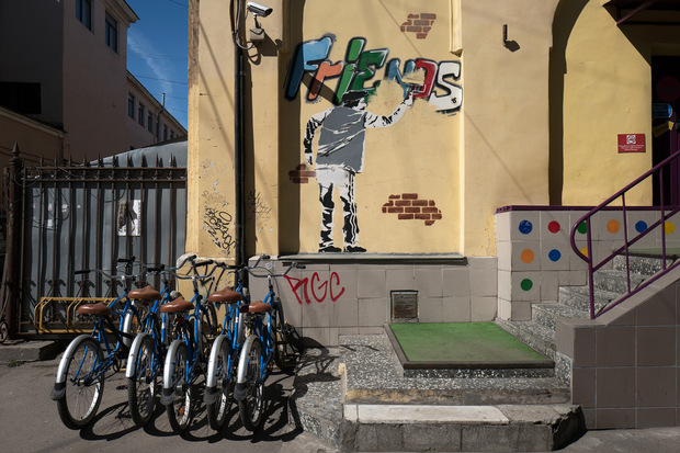bike hire with wall art