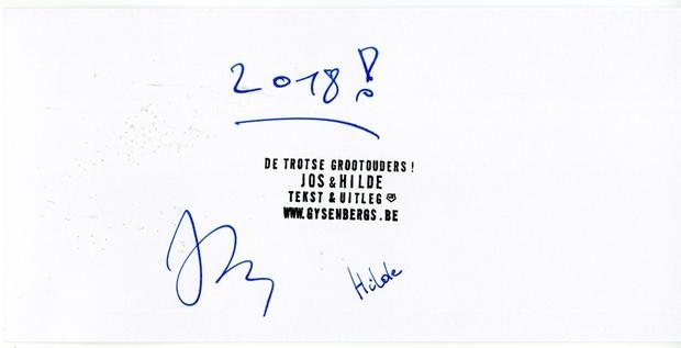 achterkant van nieuwjaarskaartje 2018