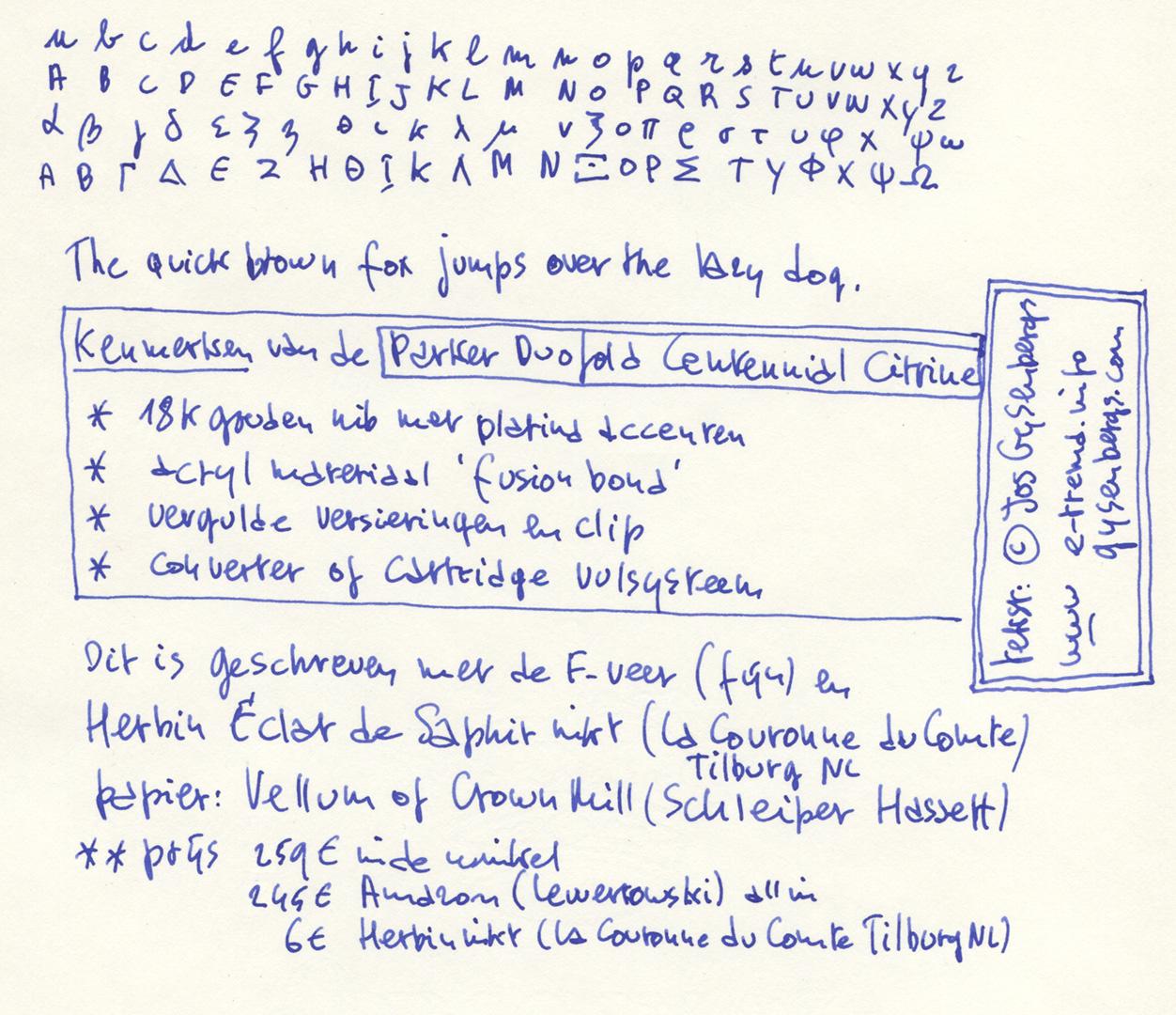 Parker Duofold Centennial schrijfvoorbeeld
